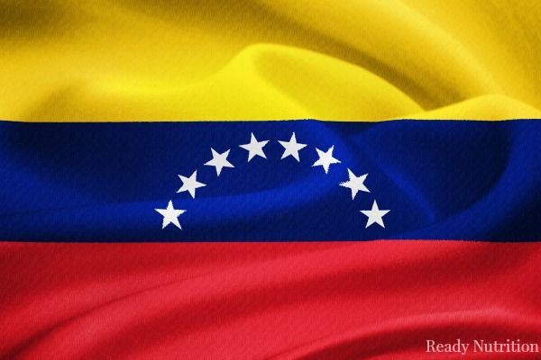 flag of Venezuela  waving in the wind. Silk texture pattern