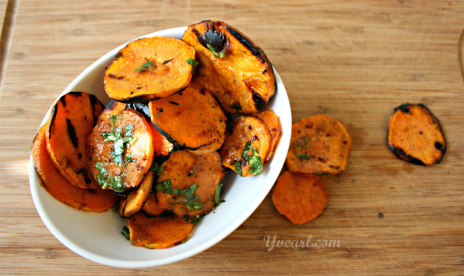 Grilled Sweet Potatoes with Coconut Oil Drizzle