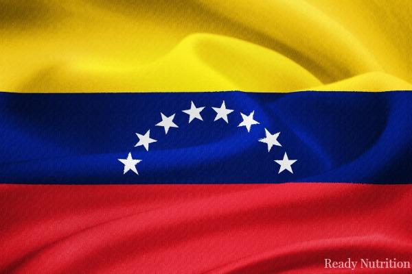 flag of Venezuela waving in the wind. Silk texture pattern